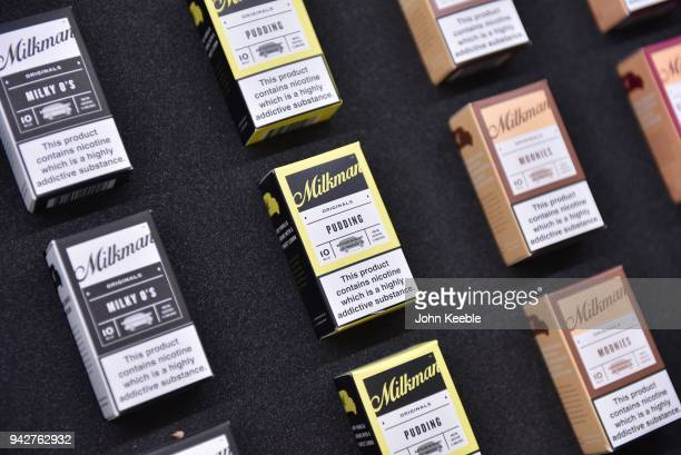 Packets of Milkman eliquid on display at the Vape Jam UK 4 at ExCel on April 6 2018 in London England Vape Jam UK the premier Electronic Cigarette...