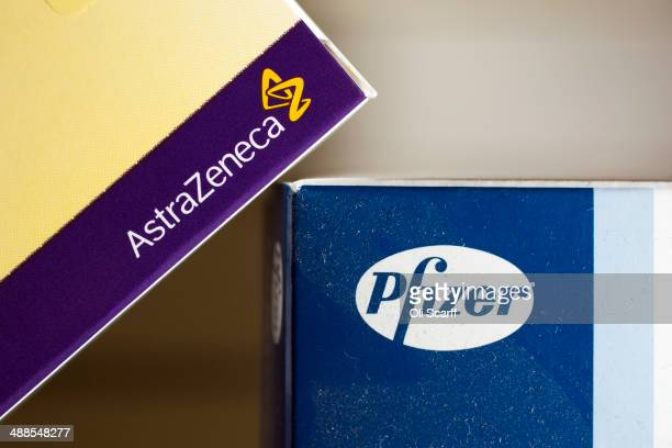 Packets of prescription drugs made by the pharmaceutical firms AstraZeneca and Pfizer on May 7, 2014 in Cambridge, England. The proposed takeover by...