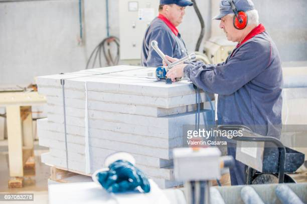 Packing a pile of marble stone