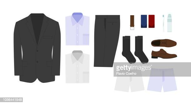 Packing male clothing suitcase for a short time business travel illustration