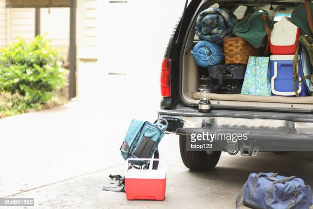 packing vehicle for camping vacation trip. - full stock pictures, royalty-free photos & images