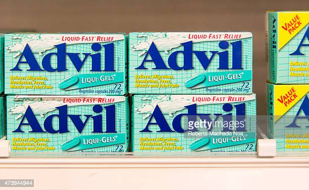 TORONTO TORONTO ONTARIO CANADA Packs of Advil LiquiGels Medicine on shelf they are 200mg ibuprofen capsules a nonsteroidal antiinflammatory drug for...