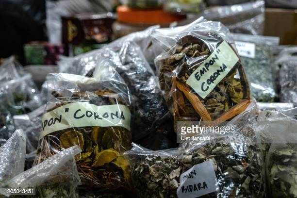 Packs of Javanese traditional herb medicine known as 'Emponempon Corona' which is believed can prevent the Coronavirus at Beringharjo market as...