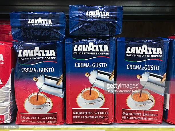 Packs of Lavazza powdered coffee stacked on a shelf Luigi Lavazza SpA is an Italian manufacturer of coffee products