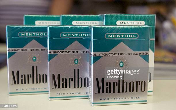 Packs of Marlboro Menthol 72 millimeter front are set up for a photograph with regular Marlboro Menthol cigarettes in a deli in New York on July 20...