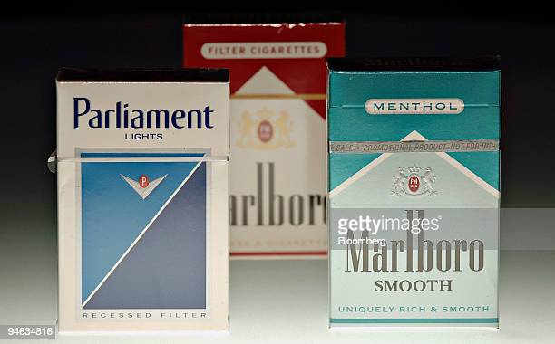 Packs of Marlboro Smooth Menthol Marlboro and Parliament Lights cigarettes are arranged for a photograph in Denver Colorado Thursday April 19 2007...