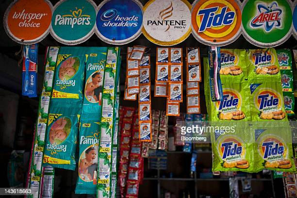 Packs of Procter Gamble Co OralB toothbrushes from left Head Shoulders shampoo Pampers diapers Tide laundry detergent and Ariel laundry detergent are...