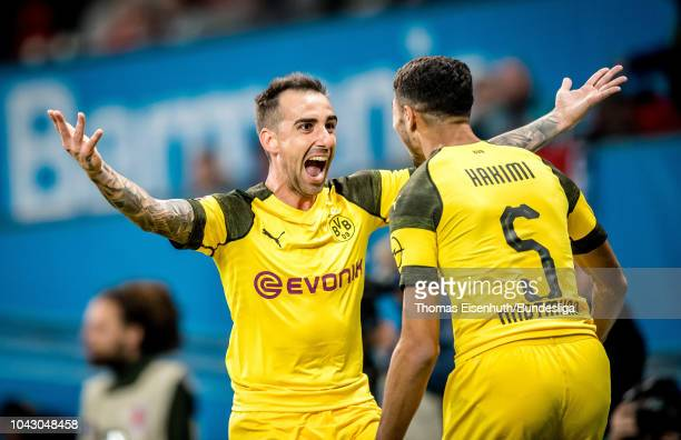 Paco Alcacer and Achraf Hakimi of Dortmund celebrate after the game winning goal during the Bundesliga match between Bayer 04 Leverkusen and Borussia...