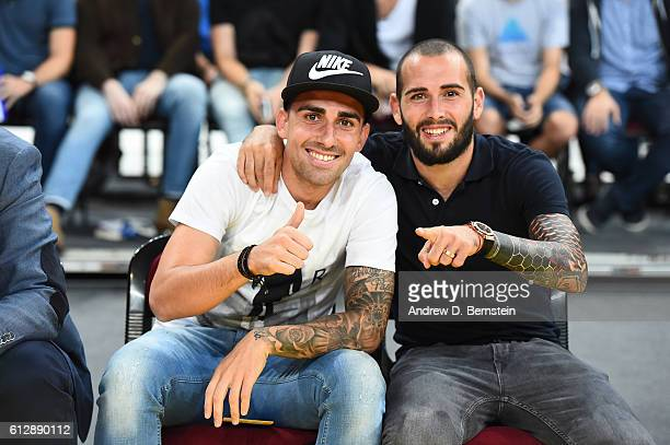 Paco Alcacer and Aleix Vidal attend the game between the Oklahoma City Thunder and FC Barcelona Lassa as part of the 2016 Global Games on October 5...