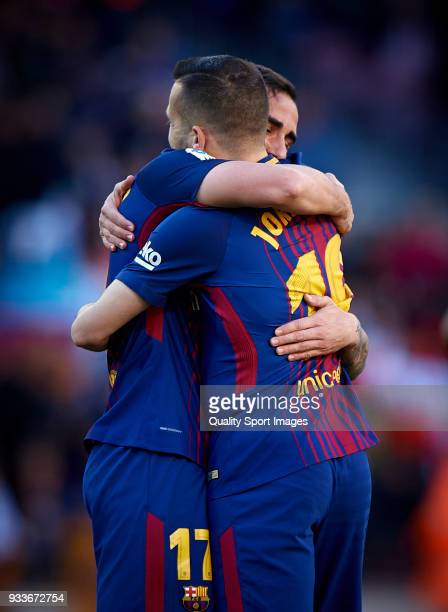 Paco Alcacer and Jordi Alba of Barcelona celebrates a goal during the La Liga match between Barcelona and Athletic Club at Camp Nou on March 18 2018...