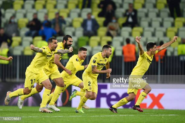 Paco Alcacer and Moi Gomez of Villarreal CF celebrates their side's victory after the UEFA Europa League Final between Villarreal CF and Manchester...