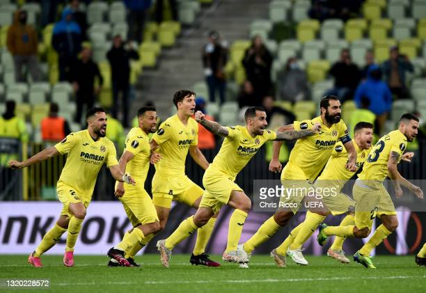 Paco Alcacer and Raul Albiol of Villarreal CF celebrate their side's victory after the UEFA Europa League Final between Villarreal CF and Manchester...