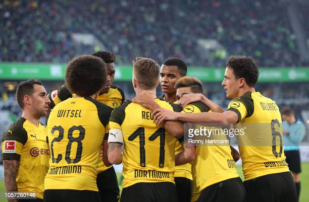 Paco Alcacer Axel Witsel DanAxel Zagadou Marco Reus Manuel Akanji Raphael Guerreiro and Thomas Delaney of Dortmund celebrate their team's 10 during...