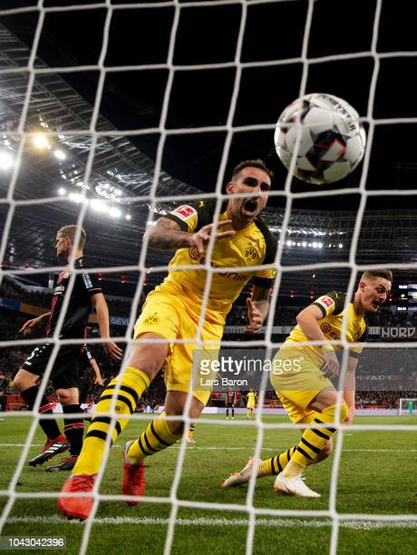 Paco Alcacer celebrates after Jacob Bruun Larsen of Borussia Dortmund scored his sides opening goal to make the score 21 during the Bundesliga match...