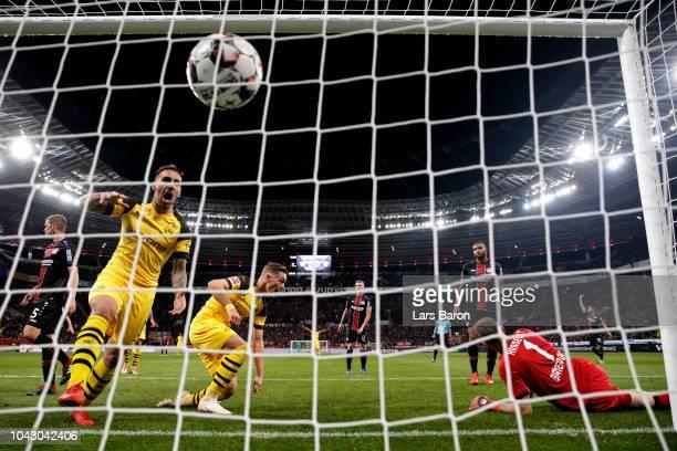 Paco Alcacer celebrates after Jacob Bruun Larsen of Borussia Dortmund scored his sides opening goal to make the score 21 during the Bundesliga match...