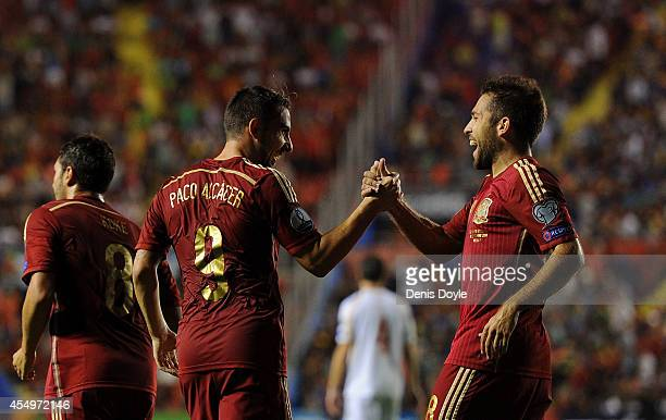 Paco Alcacer celebrates with Jordi Alba after scoring Spain's 2nd goal during the UEFA EURO 2016 Group C Qualifier between Spain and FYR of Macedonia...