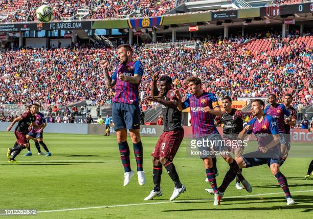 Paco Alcacer Forward FC Barcelona goes up for a corner kick during the International Champions Cup match between AC Milan and FC Barcelona on...