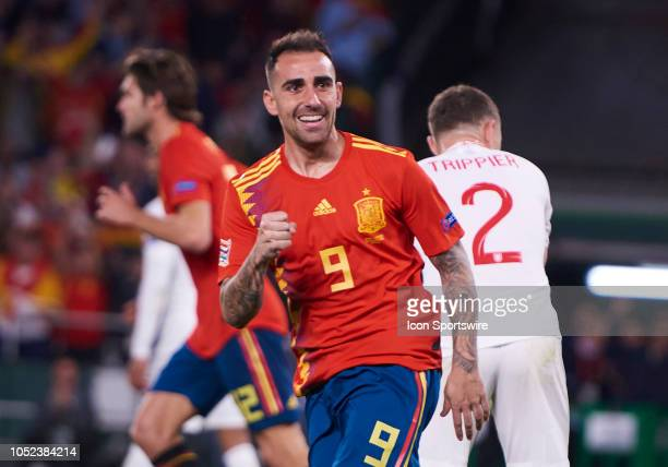 Paco Alcacer forward of Spain celebrates his goal during the UEFA Nations League A Group four match between Spain and England on October 15 at Benito...