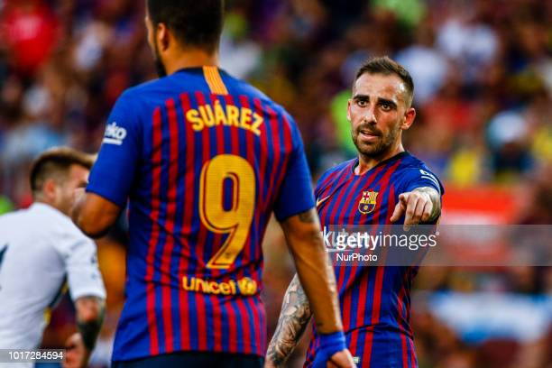 Paco Alcacer from Spain and Luis Suarez from Uruguay during the Joan Gamper trophy game between FC Barcelona and CA Boca Juniors in Camp Nou Stadium...