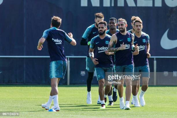 Paco Alcacer from Spain Douglas Pereira from Brasil during the first FC Barcelona training session of the 2018/2019 La Liga pre season in Ciutat...