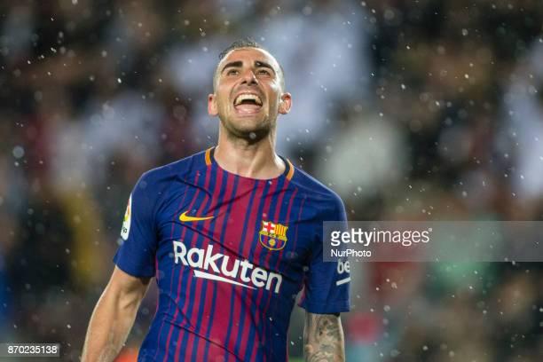 Paco Alcacer from Spain of FC Barcelona celebrating his goal during the La Liga match between FC Barcelona v Sevilla at Camp Nou Stadium on November...