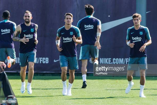 Paco Alcacer from Spain of FC Barcelona Denis Surez from Spain of FC Barcelona and Sergi Roberto from Spain of FC Barcelona during the first FC...