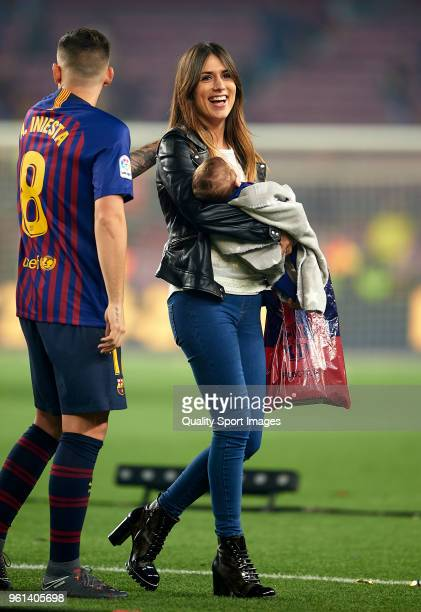 Paco Alcacer of Barcelona and his wife Beatriz Viana greet the fans at the end the La Liga match between Barcelona and Real Sociedad at Camp Nou on...