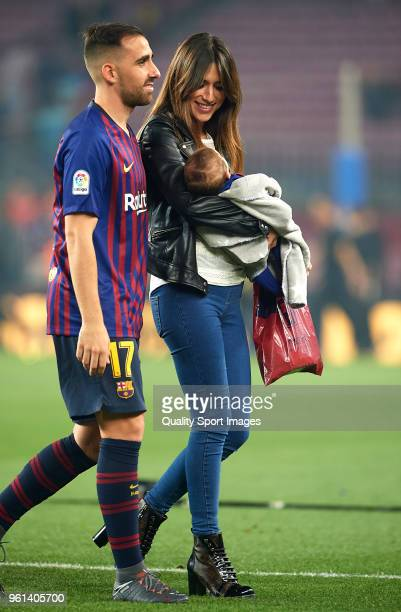 Paco Alcacer of Barcelona and his wife Beatriz Viana smile at the end the La Liga match between Barcelona and Real Sociedad at Camp Nou on May 20...