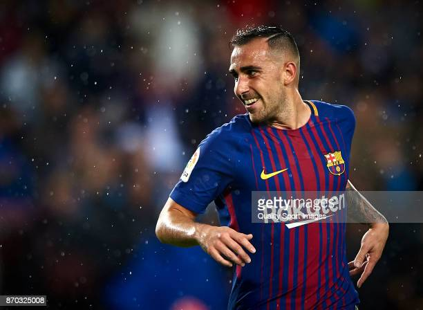 Paco Alcacer of Barcelona celebrates after scoring the first goal during the La Liga match between Barcelona and Sevilla at Camp Nou on November 4...