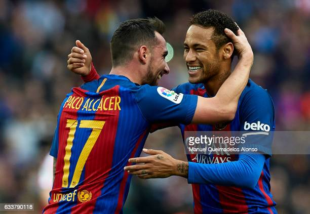 Paco Alcacer of Barcelona celebrates scoring his team's first goal with his temmate Neymar JR during the La Liga match between FC Barcelona and...