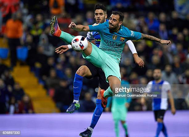 Paco Alcacer of Barcelona in action during the La Copa del Rey first leg match between Hercules CF and FC Barcelona at Jose Rico Perez on November 30...