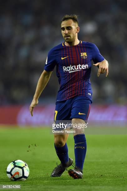 Paco Alcacer of Barcelona in action during the La Liga match between Celta de Vigo and Barcelona at Municipal Balaidos on April 17 2018 in Vigo Spain
