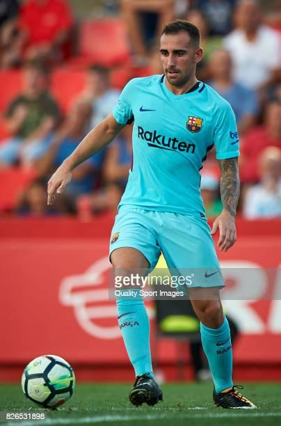 Paco Alcacer of Barcelona in action during the preseason friendly match between Gimnastic de Tarragona and FC Barcelona at Nou Estadi de Tarragona on...