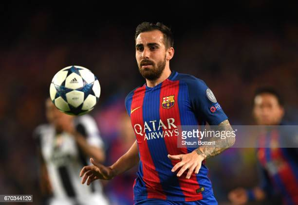 Paco Alcacer of Barcelona in action during the UEFA Champions League Quarter Final second leg match between FC Barcelona and Juventus at Camp Nou on...