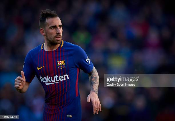 Paco Alcacer of Barcelona looks on during the La Liga match between Barcelona and Athletic Club at Camp Nou on March 18 2018 in Barcelona Spain