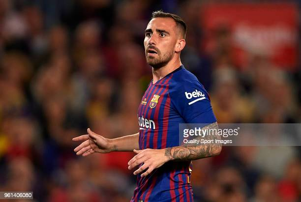 Paco Alcacer of Barcelona looks on during the La Liga match between Barcelona and Real Sociedad at Camp Nou on May 20 2018 in Barcelona Spain