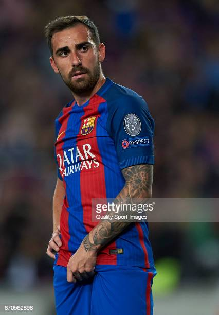 Paco Alcacer of Barcelona looks on during the UEFA Champions League Quarter Final second leg match between FC Barcelona and Juventus at Camp Nou on...