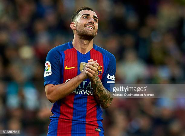 Paco Alcacer of Barcelona reacts as he fails to score during the La Liga match between FC Barcelona and Malaga CF at Camp Nou stadium on November 19...
