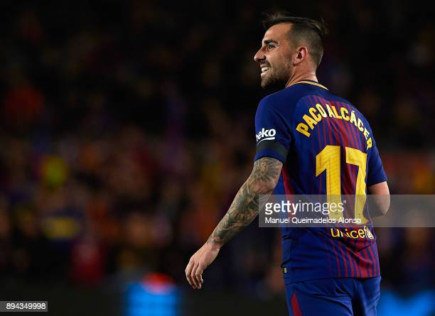 Paco Alcacer of Barcelona reacts during the La Liga match between Barcelona and Deportivo de La Coruna at Camp Nou on December 17 2017 in Barcelona...