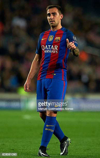 Paco Alcacer of Barcelona reacts during the UEFA Champions League Group C match between FC Barcelona and VfL Borussia Moenchengladbach at Camp Nou on...