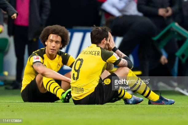 Paco Alcacer of Borussia Dortmund and Axel Witsel of Borussia Dortmund looks dejected during the Bundesliga match between SV Werder Bremen and...
