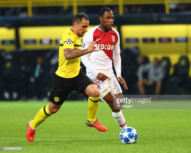 Paco Alcacer of Borussia Dortmund and Djibril Sidibe of AS Monaco battle for the ball during the Group A match of the UEFA Champions League between...