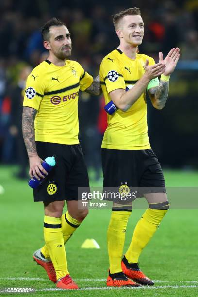 Paco Alcacer of Borussia Dortmund and Marco Reus of Borussia Dortmund celebrate after winning the Group A match of the UEFA Champions League between...