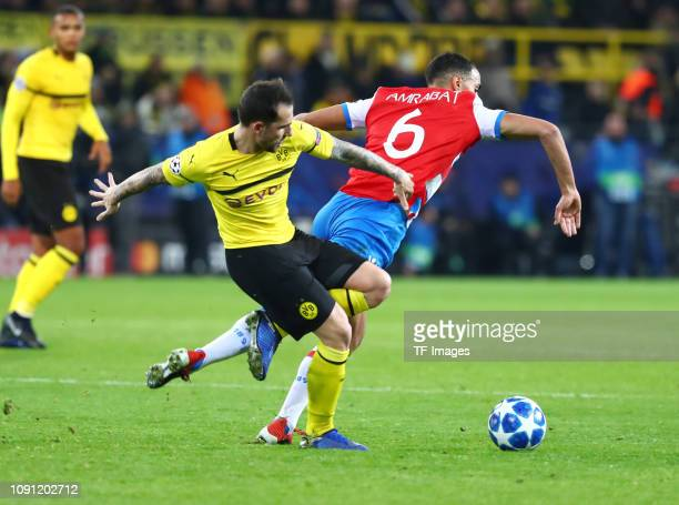 Paco Alcacer of Borussia Dortmund and Sofyan Amrabat of Club Brugge battle for the ball during the Group A match of the UEFA Champions League between...