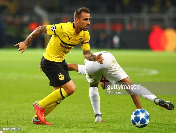 Paco Alcacer of Borussia Dortmund and Youri Tielemans of AS Monaco battle for the ball during the Group A match of the UEFA Champions League between...
