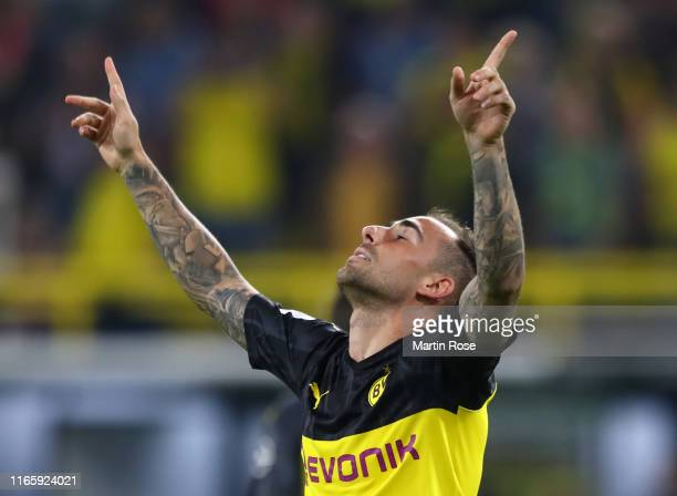 Paco Alcacer of Borussia Dortmund celebrates after scoring his sides first goal during the DFL Supercup 2019 match between Borussia Dortmund and FC...