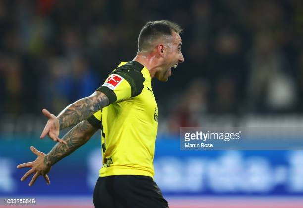 Paco Alcacer of Borussia Dortmund celebrates after scoring his team's third goal during the Bundesliga match between Borussia Dortmund and Eintracht...