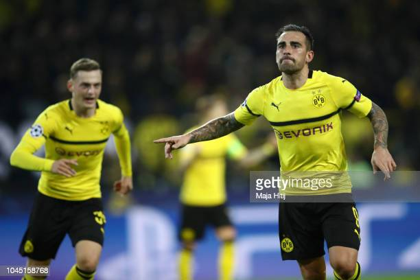 Paco Alcacer of Borussia Dortmund celebrates after scoring his team's second goal during the Group A match of the UEFA Champions League between...