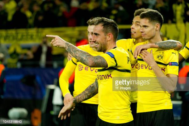 Paco Alcacer of Borussia Dortmund celebrates after scoring his team`s second goal during the Group A match of the UEFA Champions League between...