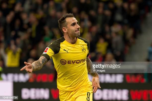 Paco Alcacer of Borussia Dortmund celebrates after scoring his team`s third goal during the Bundesliga match between Bayer 04 Leverkusen and Borussia...